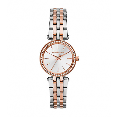 Michael Kors Ladies Petite Darci Silver and Rose Gold-Tone Watch MK3298