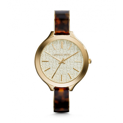 Michael Kors Ladies Slim Runway Logo Tortoise Acetate and Gold-Tone Watch MK4293