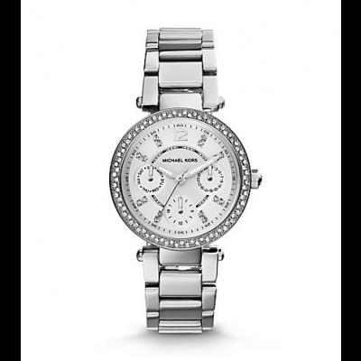 Michael Kors Ladies Mini Parker Pavé Silver-Tone Watch MK5615