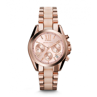 Michael Kors Ladies Mini Bradshaw Acetate and Rose Gold-Tone Watch MK6066
