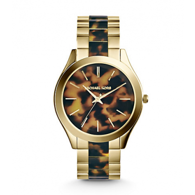 Michael Kors Ladies Slim Runway Tortoise and Gold-Tone Watch MK4284