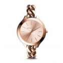 Michael Kors Ladies Slim Runway Rose Gold-Tone Chain-Link Watch MK3223