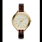 Michael Kors Ladies Slim Runway Logo Tortoise Acetate and Gold-Tone Watch MK4293
