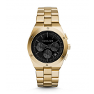 Michael Kors Ladies  Reagan Onyx and Gold-Tone Watch MK6078