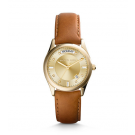 Michael Kors Ladies Colette Gold-Tone and Leather Watch MK2374